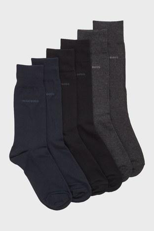 Hugo Boss - Hugo Boss Pamuklu 3 Pack Erkek Çorap 50388453 962 SİYAH-GRİ-LACİVERT