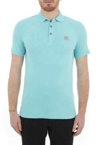 Hugo Boss - Hugo Boss Pamuklu Düğmeli T Shirt Erkek Polo 50378334 444 TURKUAZ