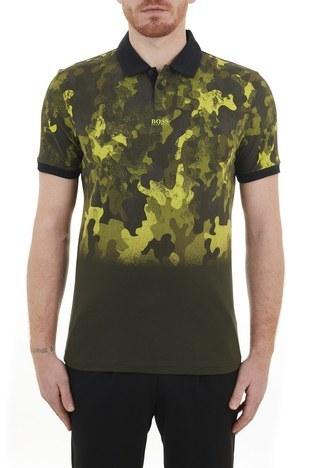 Hugo Boss - Hugo Boss Regular Fit % 100 Pamuk Düğmeli T Shirt Erkek Polo 50436434 346 HAKİ