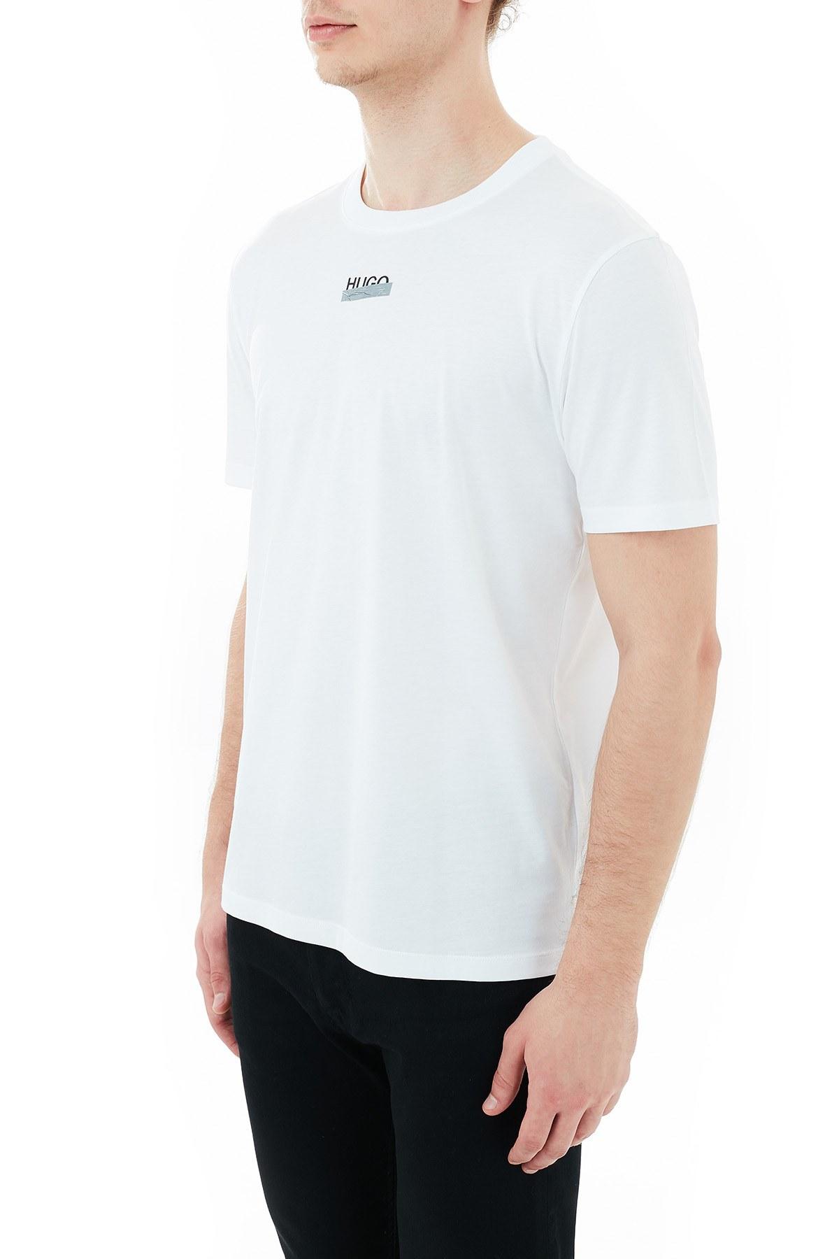 Hugo Boss Regular Fit Baskılı Bisiklet Yaka % 100 Pamuk Erkek T Shirt 50435529 100 BEYAZ