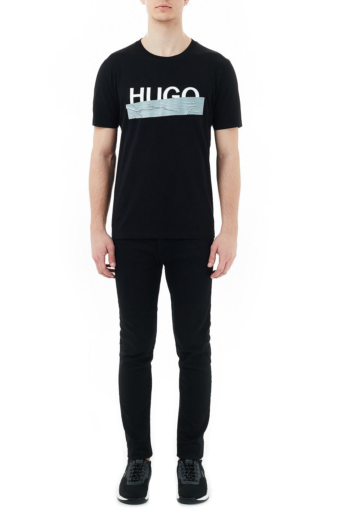 Hugo Boss Regular Fit Baskılı Bisiklet Yaka % 100 Pamuk Erkek T Shirt 50436413 001 SİYAH