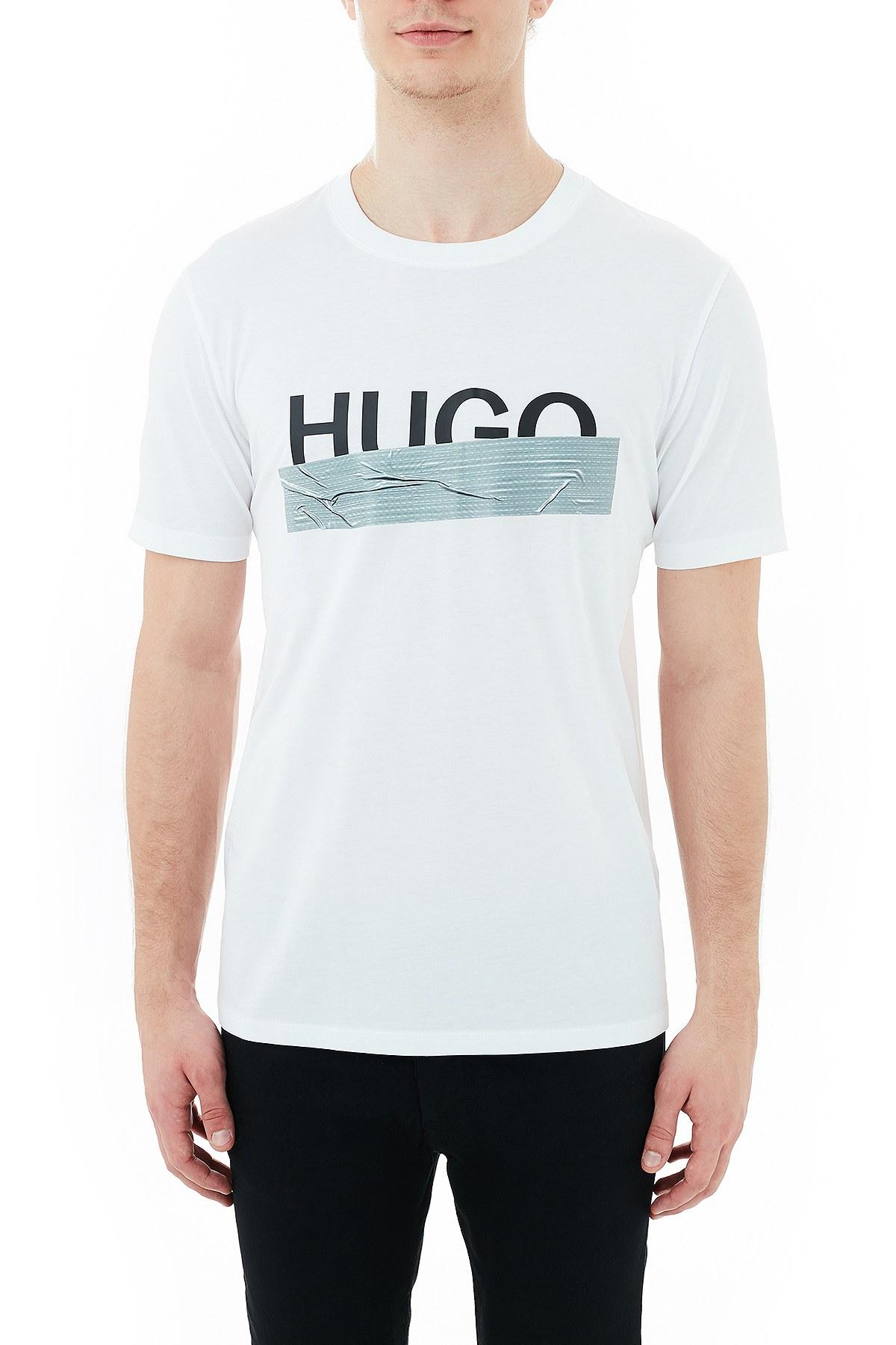 Hugo Boss Regular Fit Baskılı Bisiklet Yaka % 100 Pamuk Erkek T Shirt 50436413 100 BEYAZ