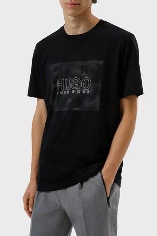 Hugo Boss - Hugo Boss Regular Fit Baskılı Bisiklet Yaka % 100 Pamuk Erkek T Shirt 50456859 001 SİYAH
