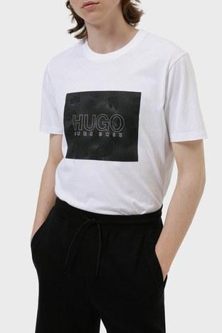Hugo Boss - Hugo Boss Regular Fit Baskılı Bisiklet Yaka % 100 Pamuk Erkek T Shirt 50456859 100 BEYAZ