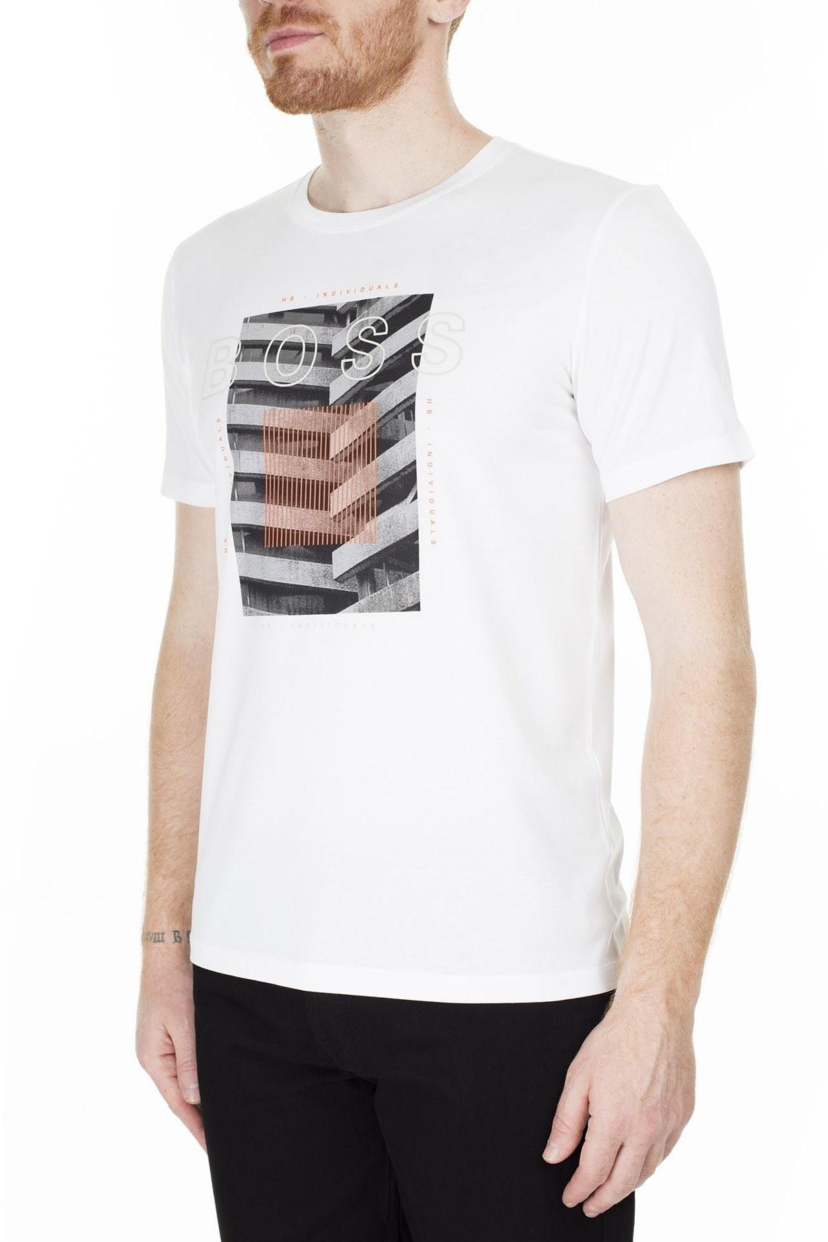 Hugo Boss Regular Fit Erkek T Shirt 50427851 100 BEYAZ