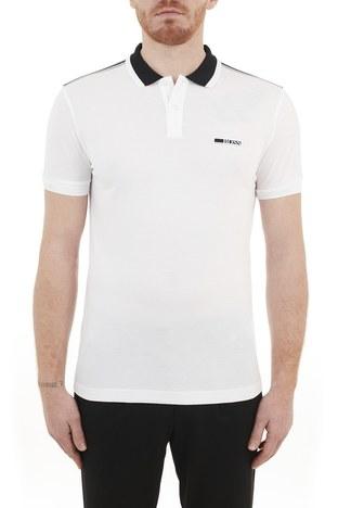 Hugo Boss - Hugo Boss Regular Fit Pamuklu Düğmeli T Shirt Erkek Polo 50448653 100 BEYAZ