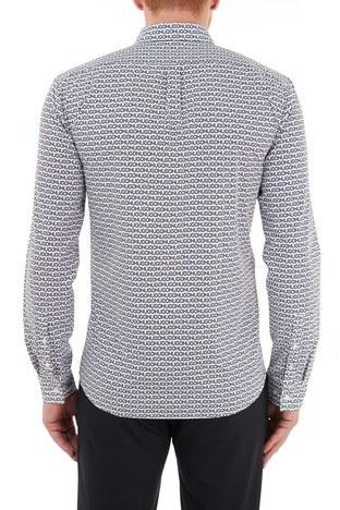 Hugo Boss - Hugo Boss Slim Fit Baskılı % 100 Pamuk Erkek Gömlek 50449728 405 LACİVERT (1)
