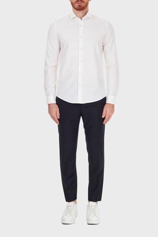 Hugo Boss - Hugo Boss Slim Fit Beli Bağcıklı Yünlü Erkek Pantolon 50440817 401 LACİVERT