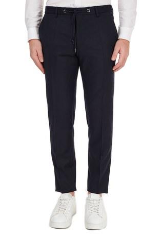 Hugo Boss - Hugo Boss Slim Fit Beli Bağcıklı Yünlü Erkek Pantolon 50440817 401 LACİVERT (1)