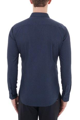 Hugo Boss - Hugo Boss Slim Fit Düz Yaka % 100 Pamuk Erkek Gömlek 50435502 402 LACİVERT (1)