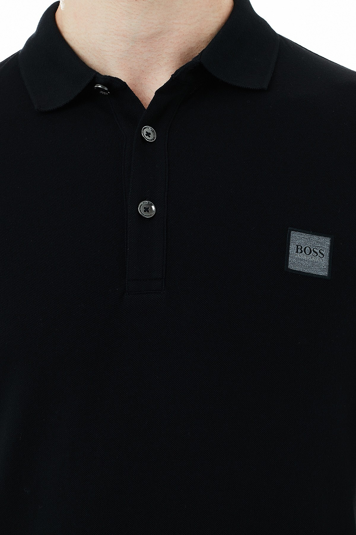 Hugo Boss Slim Fit Pamuklu Düğmeli T Shirt Erkek Polo 50387465 001 SİYAH