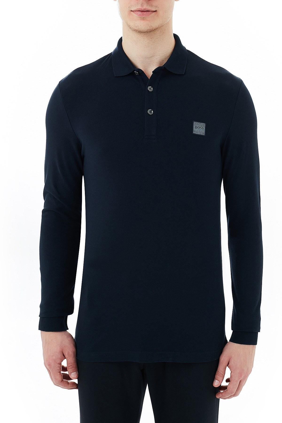 Hugo Boss Slim Fit Pamuklu Düğmeli T Shirt Erkek Polo 50387465 404 LACİVERT