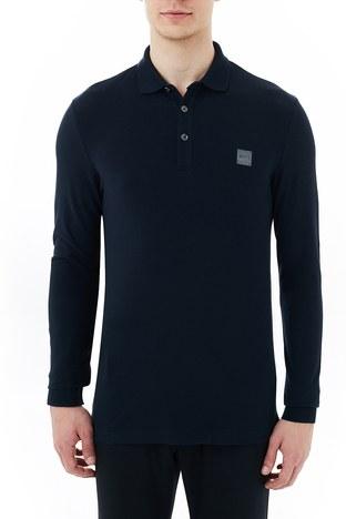 Hugo Boss - Hugo Boss Slim Fit Pamuklu Düğmeli T Shirt Erkek Polo 50387465 404 LACİVERT
