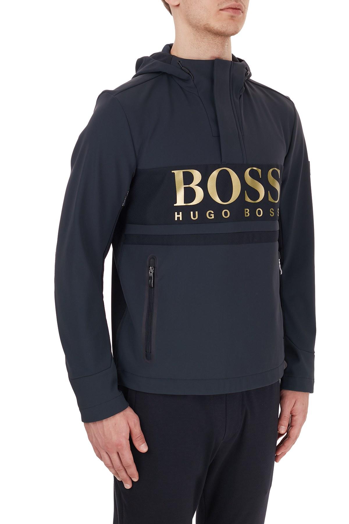 Hugo Boss Su Geçirmez Baskılı Kapüşonlu Erkek Mont 50435052 402 LACİVERT