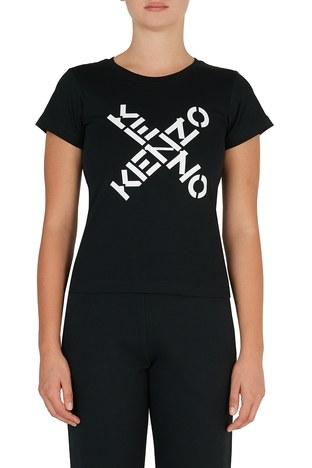 Kenzo - Kenzo Baskılı Bisiklet Yaka % 100 Pamuk Kadın T Shirt FA6 2TS720 4SJ 99 SİYAH
