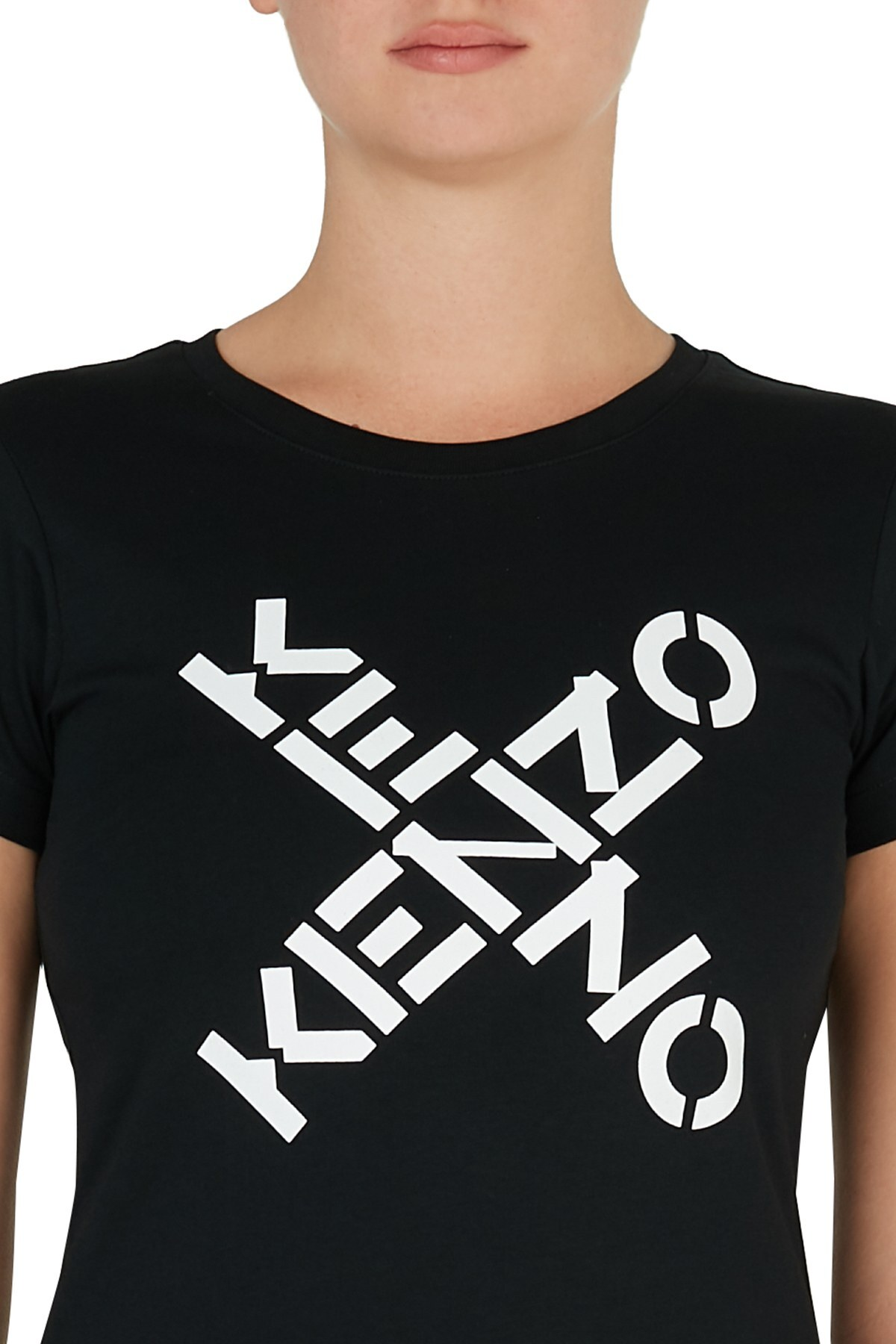 Kenzo Baskılı Bisiklet Yaka % 100 Pamuk Kadın T Shirt FA6 2TS720 4SJ 99 SİYAH