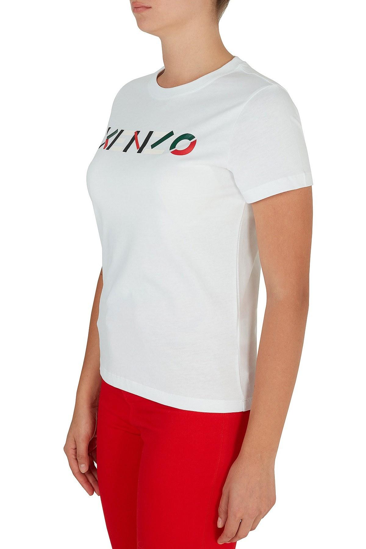 Kenzo Baskılı Bisiklet Yaka % 100 Pamuk Kadın T Shirt FA6 2TS840 4SJ 01 BEYAZ