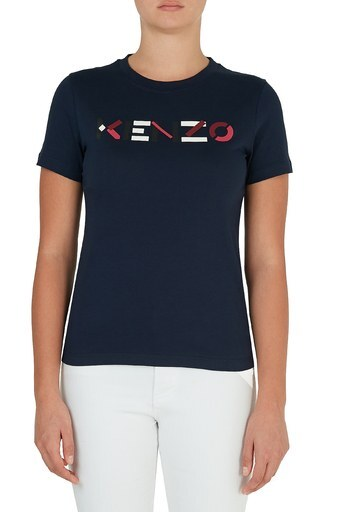 Kenzo Baskılı Bisiklet Yaka % 100 Pamuk Kadın T Shirt FA6 2TS840 4SJ 76 LACİVERT