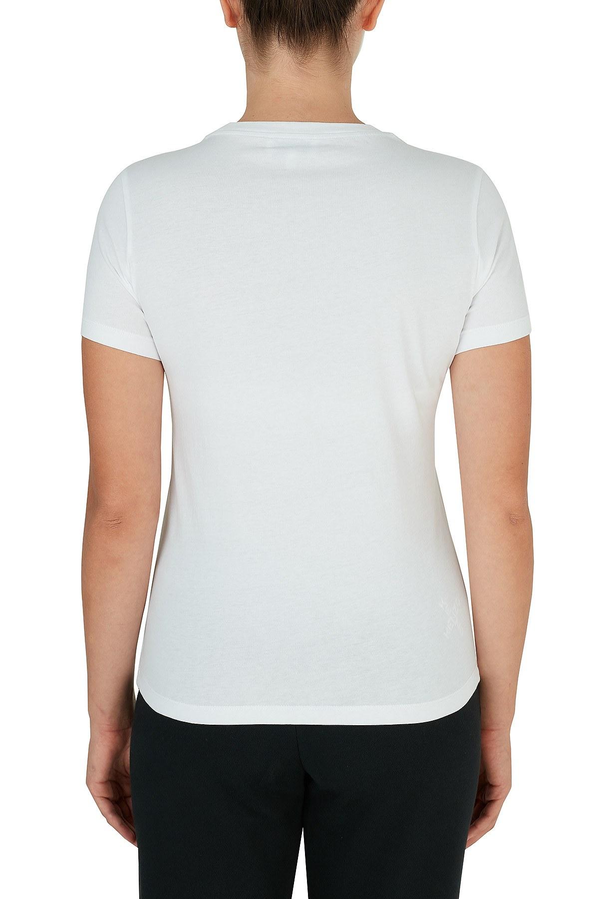 Kenzo Baskılı Bisiklet Yaka % 100 Pamuk Kadın T Shirt FA6 2TS846 4YB 01 BEYAZ