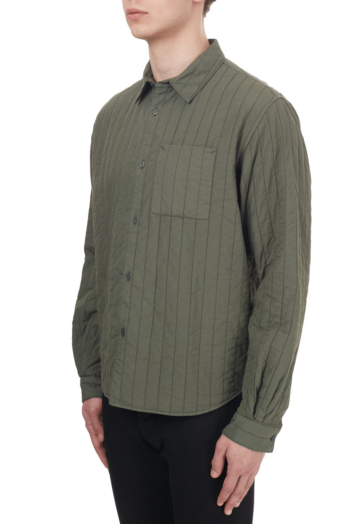 Kenzo Pamuklu Çizgili Tek Cepli Regular Fit Erkek Gömlek FA6 5CH410 1LA 54 HAKİ