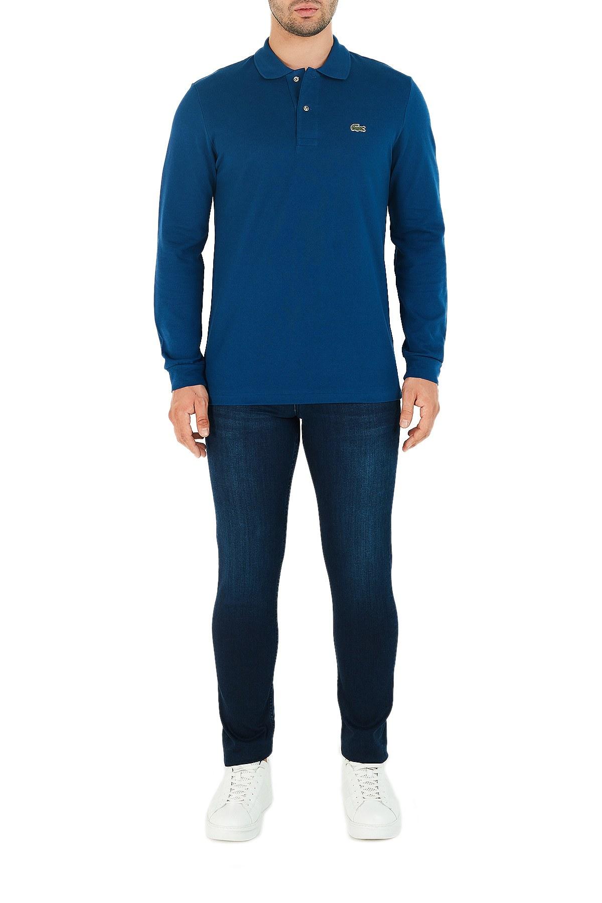 Lacoste % 100 Pamuk Düğmeli T Shirt Erkek Polo L1312 HBM MAVİ