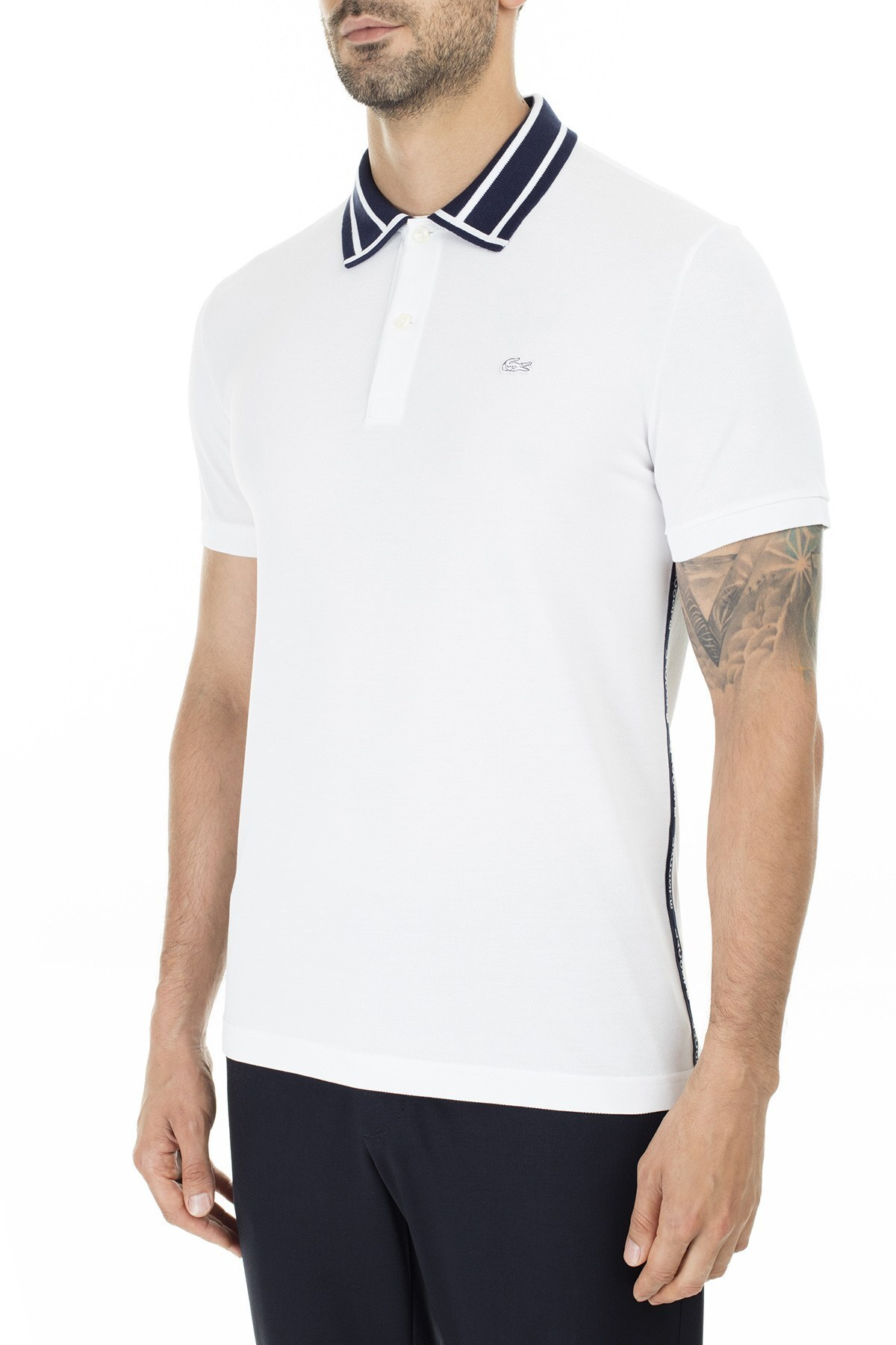 Lacoste % 100 Pamuk Slim Fit T Shirt Erkek Polo PH0008 08A BEYAZ