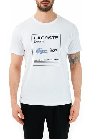 Lacoste - Lacoste % 100 Pamuklu Bisiklet Yaka Erkek T Shirt TH0101 01B BEYAZ