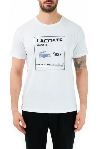 Lacoste % 100 Pamuklu Bisiklet Yaka Erkek T Shirt TH0101 01B BEYAZ