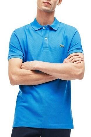Lacoste - Lacoste % 100 Pamuklu Slim Fit T Shirt Erkek Polo PH4012 PTV MAVİ