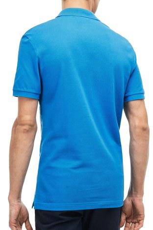 Lacoste - Lacoste % 100 Pamuklu Slim Fit T Shirt Erkek Polo PH4012 PTV MAVİ (1)