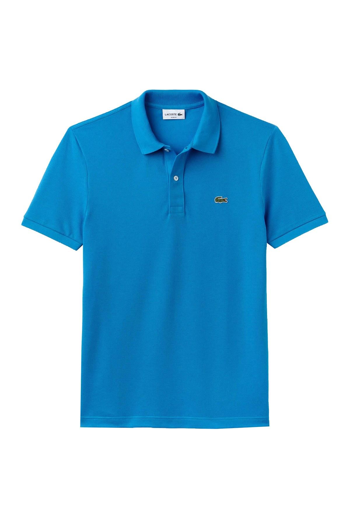 Lacoste % 100 Pamuklu Slim Fit T Shirt Erkek Polo PH4012 PTV MAVİ