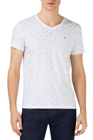 Lacoste - Lacoste % 100 Pamuklu Slim Fit V Yaka Erkek T Shirt TH0148 48B BEYAZ