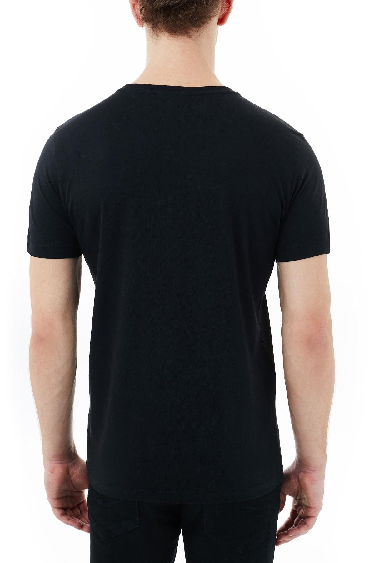 Lacoste Baskılı Bisiklet Yaka % 100 Pamuk Erkek T Shirt TH1868 031 SİYAH