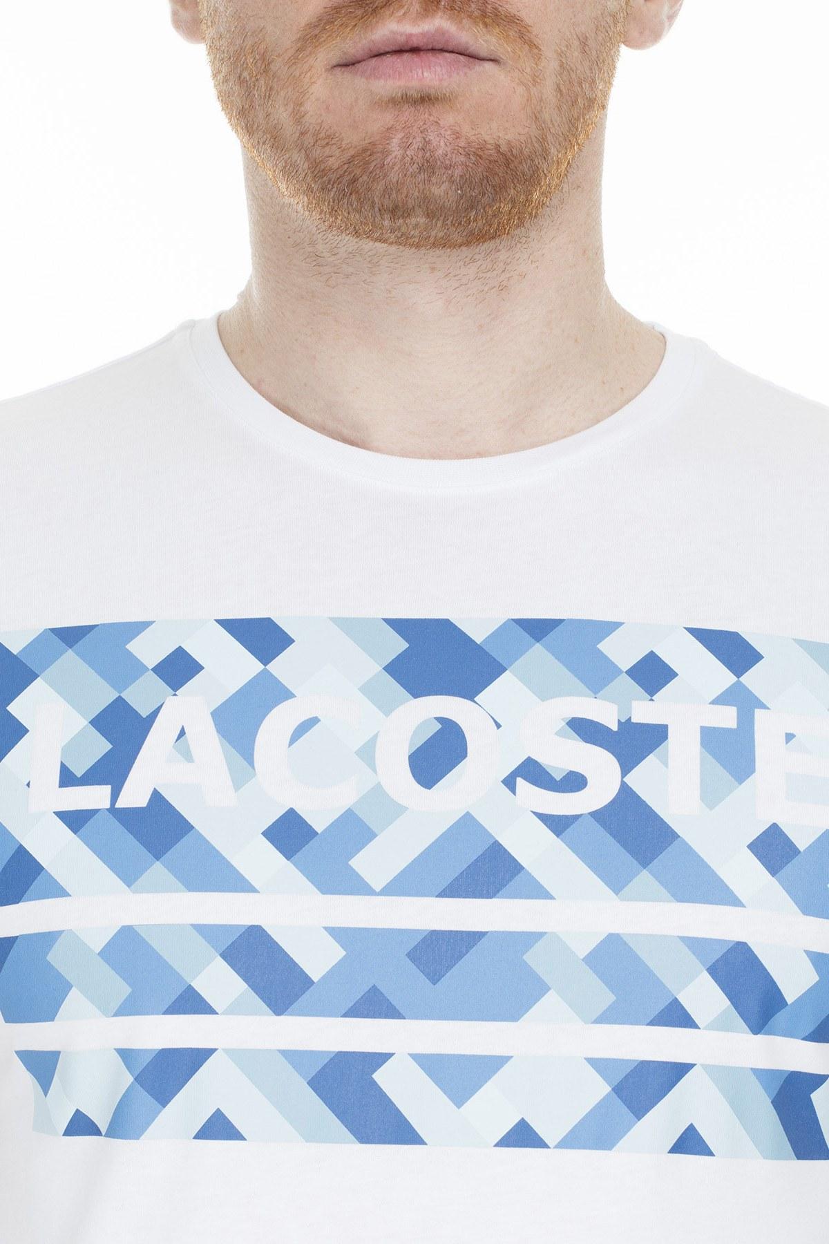 Lacoste Baskılı Bisiklet Yaka Erkek T Shirt TH0020 20A BEYAZ
