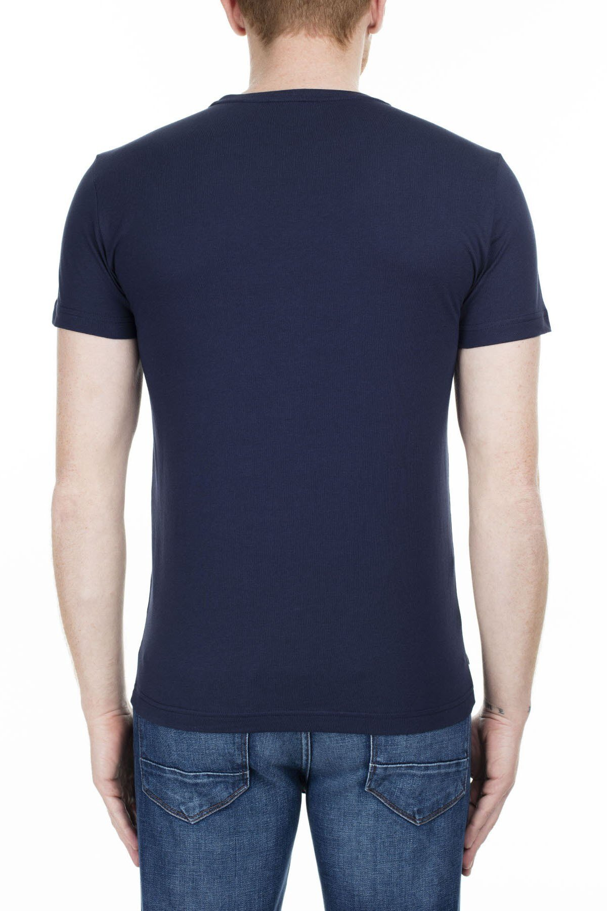 Lacoste Baskılı Bisiklet Yaka Erkek T Shirt TH0020 20L LACİVERT