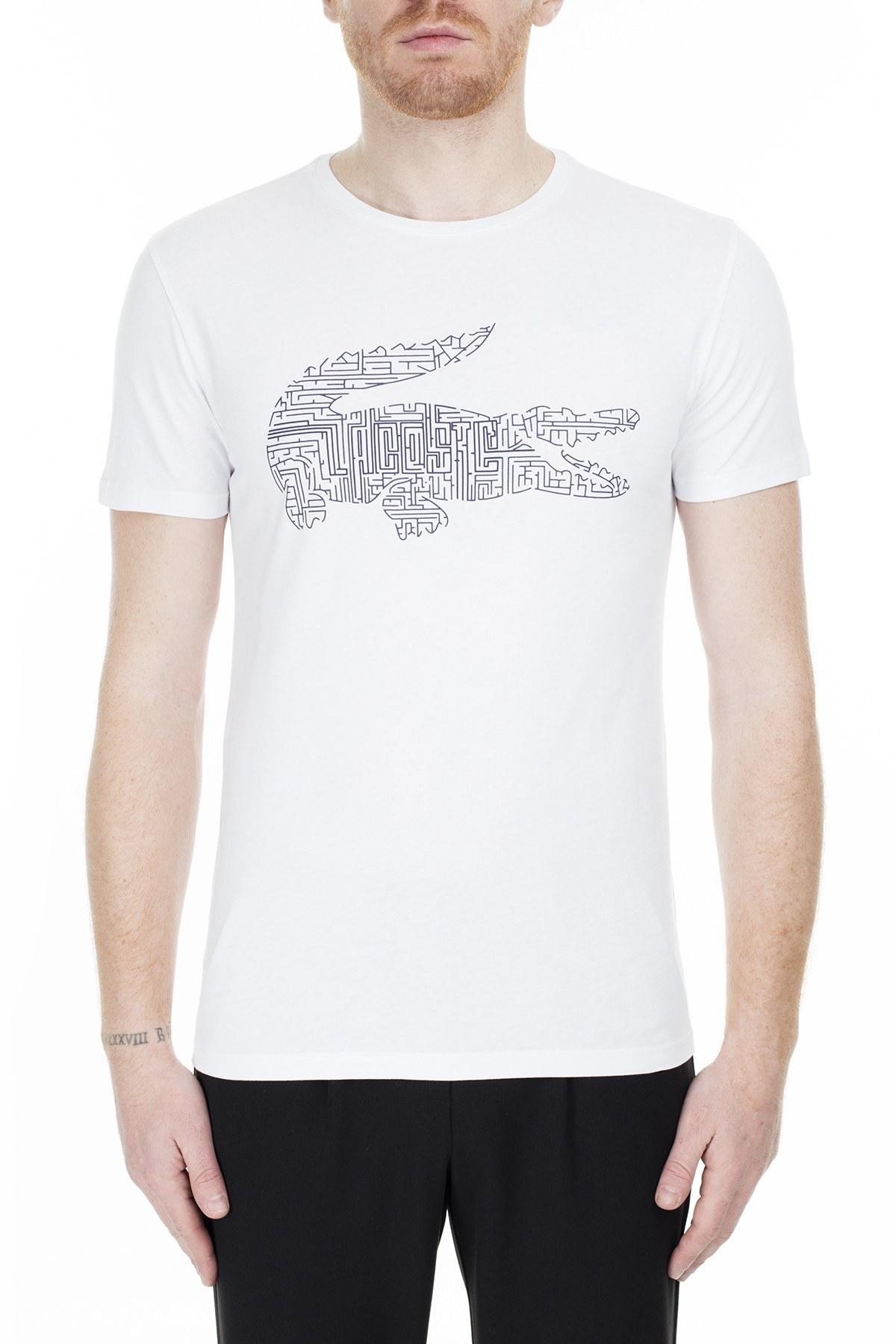 Lacoste Baskılı Bisiklet Yaka Erkek T Shirt TH0027 27A BEYAZ