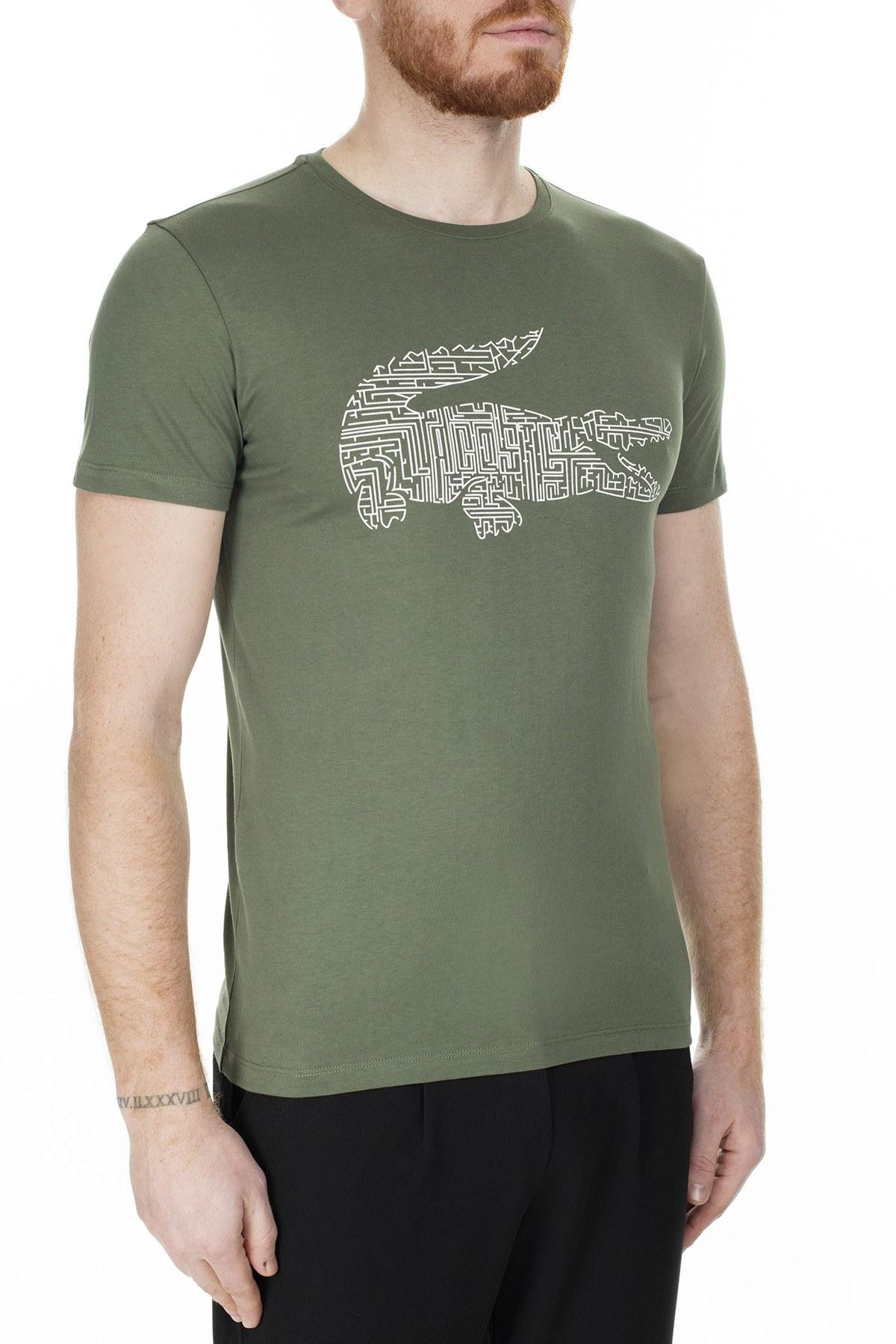 Lacoste Bisiklet Yaka Baskılı Erkek T Shirt TH0027 27Y HAKİ