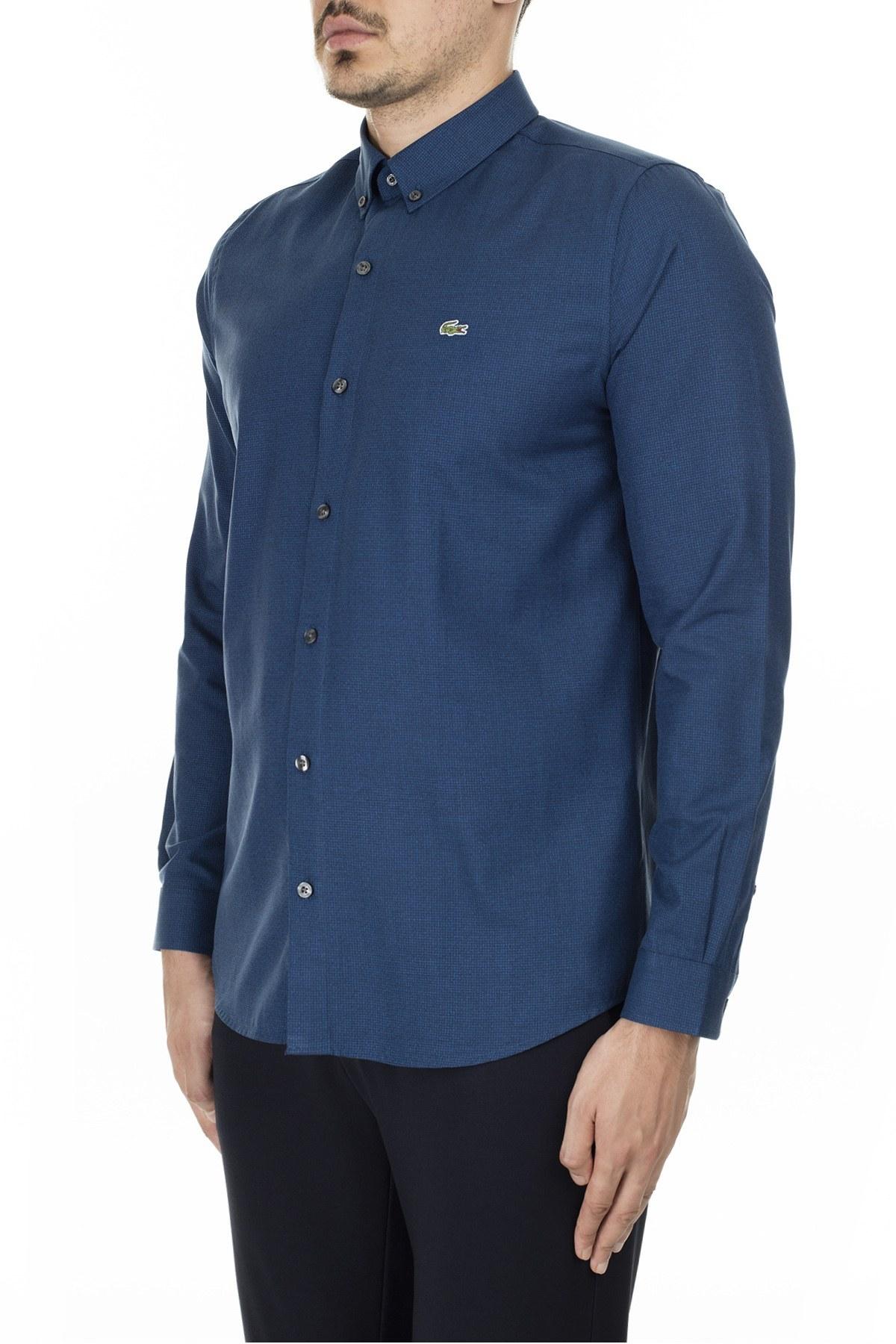 Lacoste Düğmeli Yaka Pamuklu Slim Fit Erkek Gömlek CH2138 38L MAVİ