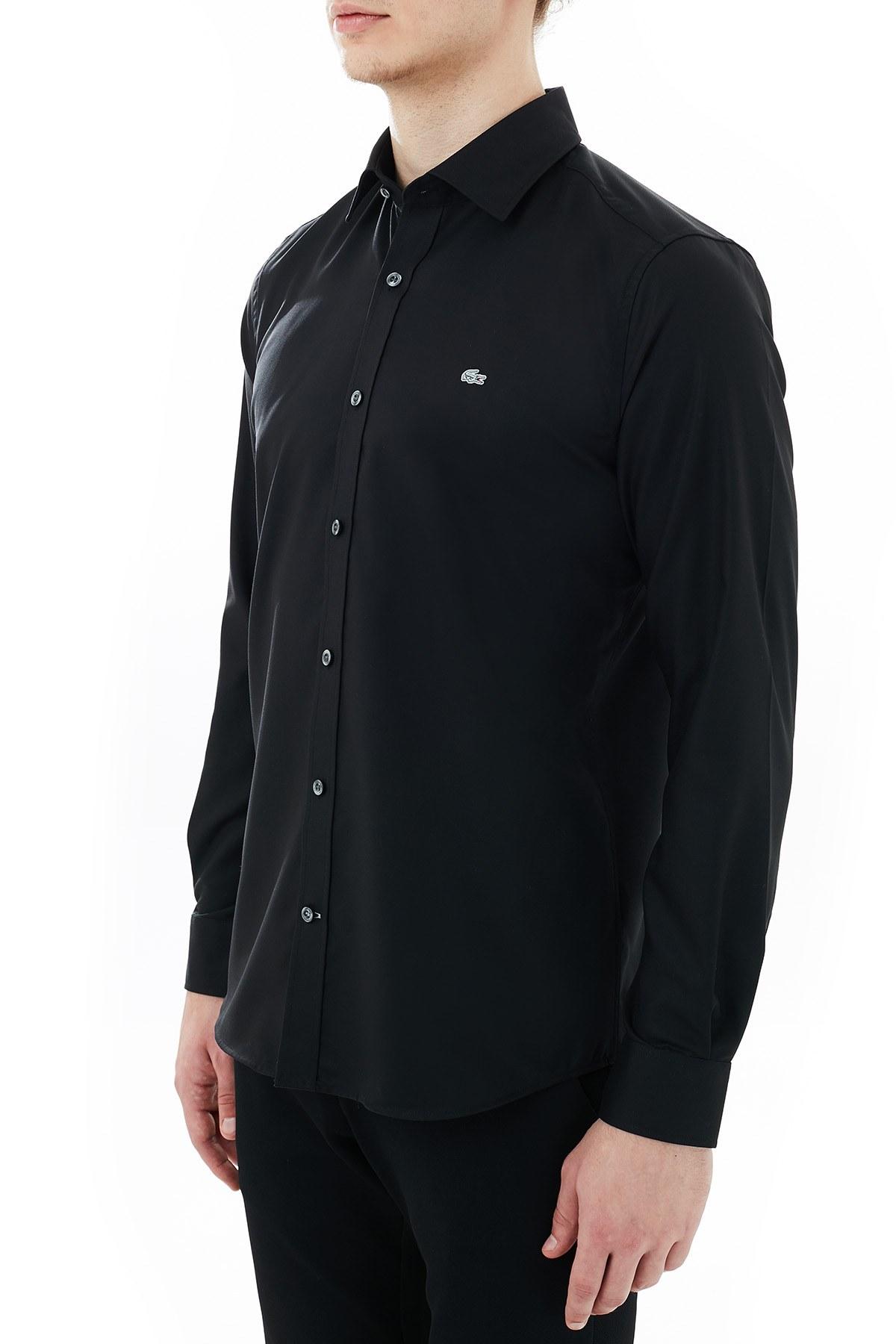 Lacoste Düz Yaka % 100 Pamuk Erkek Gömlek CH6122 C31 SİYAH