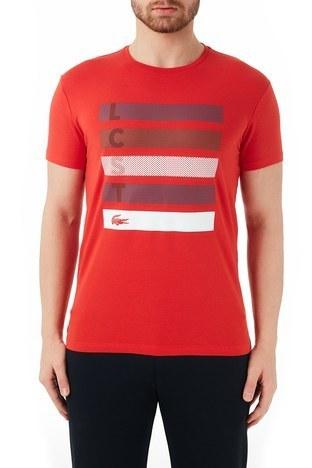Lacoste - Lacoste Pamuklu Baskılı Slim Fit Bisiklet Yaka Erkek T Shirt TH0112 12K KIRMIZI