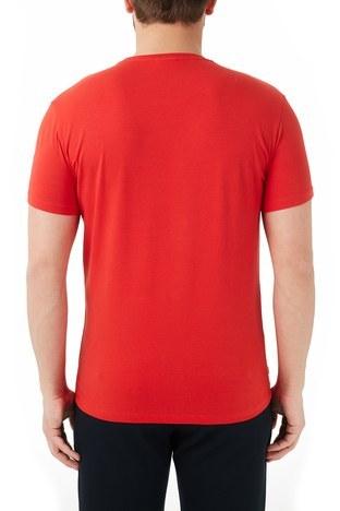 Lacoste - Lacoste Pamuklu Baskılı Slim Fit Bisiklet Yaka Erkek T Shirt TH0112 12K KIRMIZI (1)