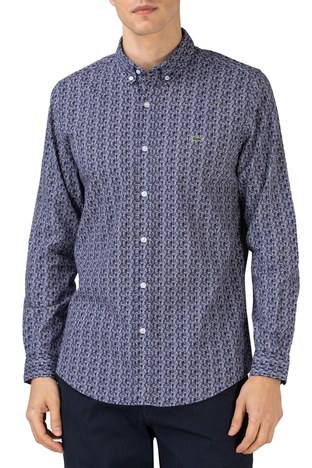 Lacoste - Lacoste Pamuklu Desenli Slim Fit Erkek Gömlek CH0196 96L LACİVERT