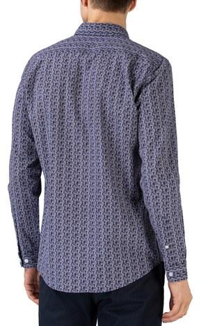 Lacoste - Lacoste Pamuklu Desenli Slim Fit Erkek Gömlek CH0196 96L LACİVERT (1)