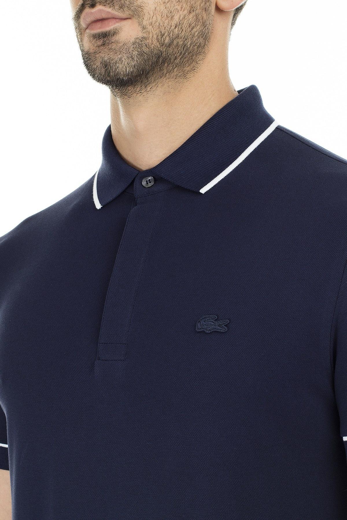 Lacoste Pamuklu Regular Fit T Shirt Erkek Polo PH4275 525 LACİVERT