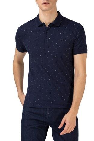 Lacoste - Lacoste Pamuklu Slim Fit Düğmeli T Shirt Erkek Polo PH0158 58L LACİVERT