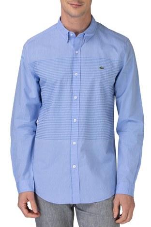 Lacoste - Lacoste Pamuklu Slim Fit Jakarlı Erkek Gömlek CH0192 92M MAVİ