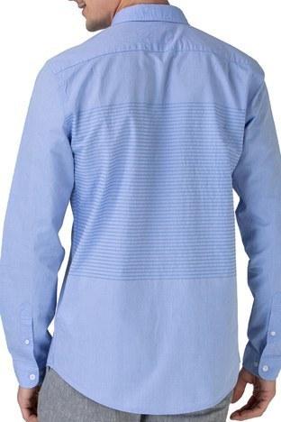 Lacoste - Lacoste Pamuklu Slim Fit Jakarlı Erkek Gömlek CH0192 92M MAVİ (1)