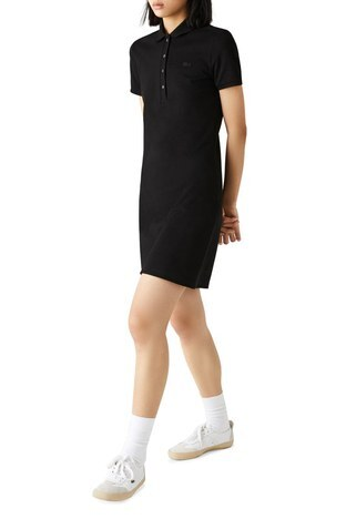 Lacoste - Lacoste Pamuklu Slim Fit Polo Yaka Streç Mini Bayan Elbise EF5473 031 SİYAH