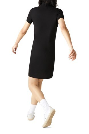 Lacoste - Lacoste Pamuklu Slim Fit Polo Yaka Streç Mini Bayan Elbise EF5473 031 SİYAH (1)