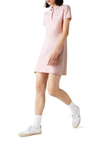 Lacoste - Lacoste Pamuklu Slim Fit Polo Yaka Streç Mini Bayan Elbise EF5473 ADY AÇIK PEMBE
